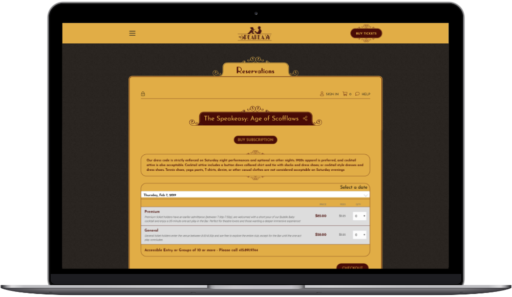 Speakeasy website VBO