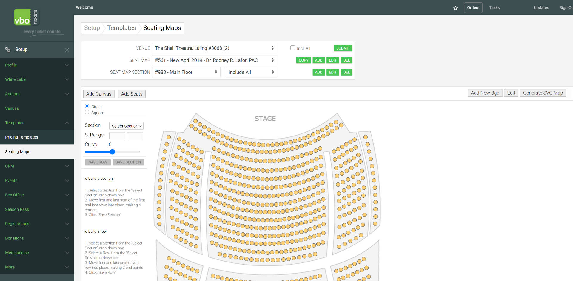 build a theatre seatmap with curves