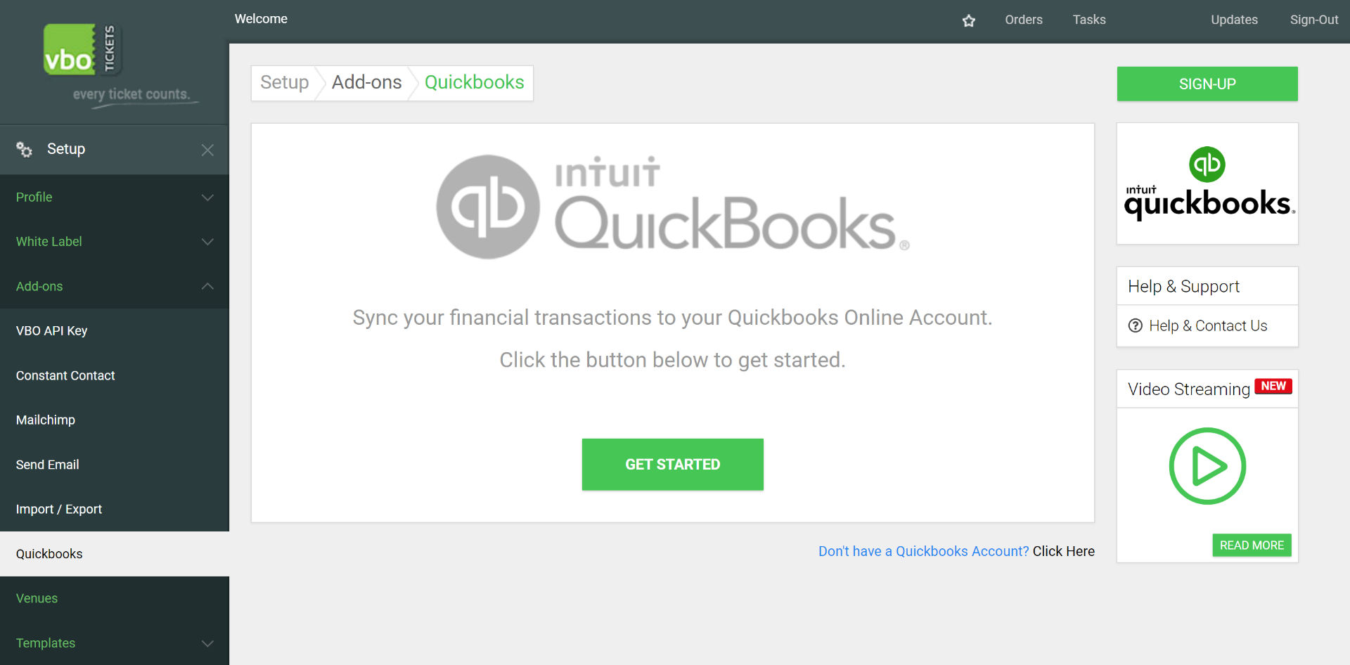 Quickbooks VBO connection