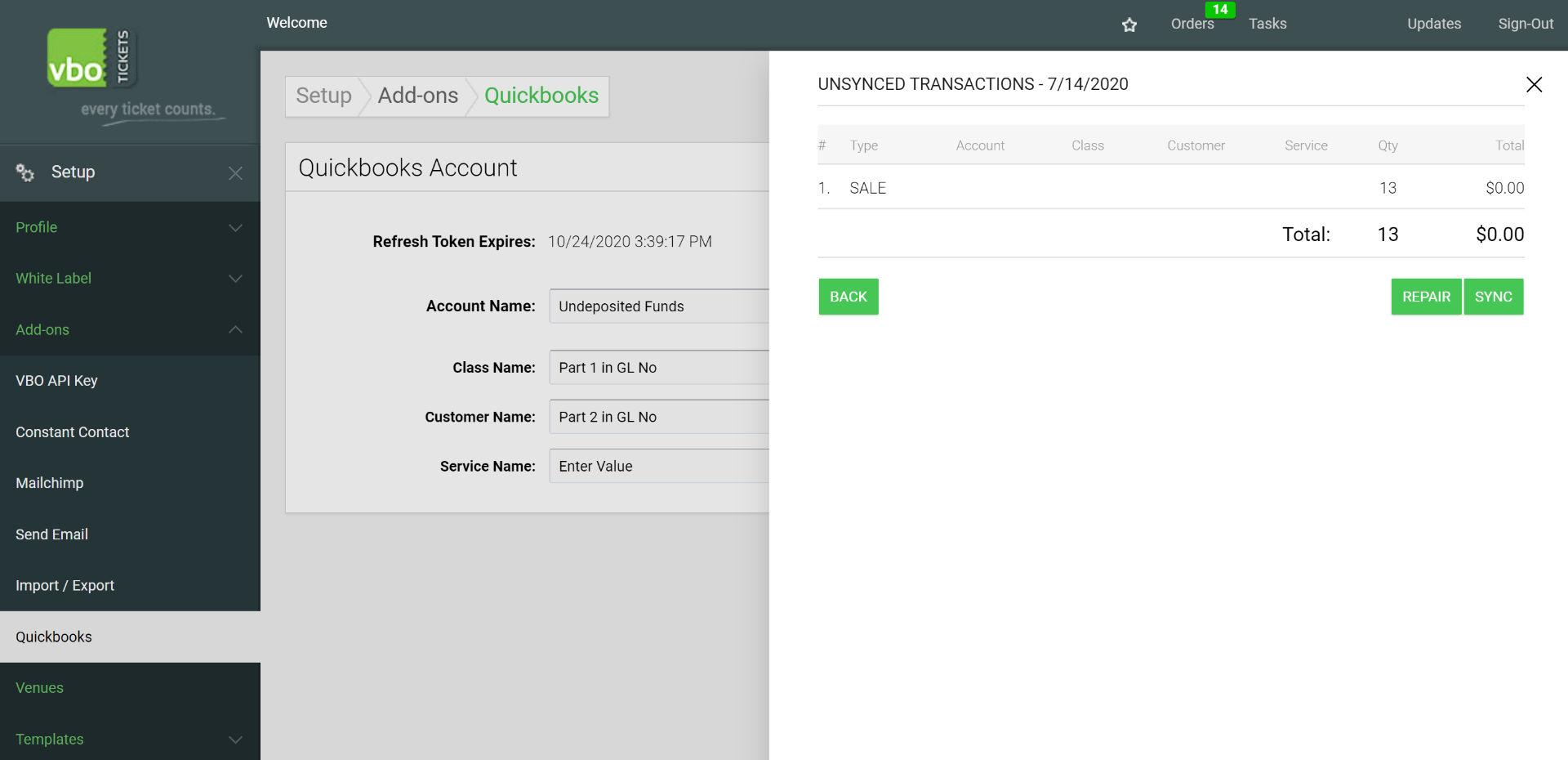 Quickbooks VBO transactions
