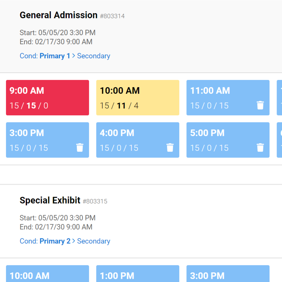 timed ticketing time slots VBO Tickets backend