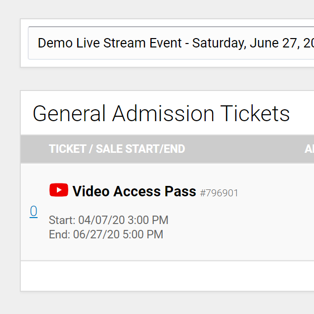 video access ticket setting